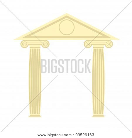 Greek Portico. Greek Temple. Two Column And Roof. Vector Illustration Of Ancient Architecture.