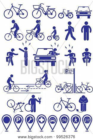 Vector Set Pictograms Bicycle Infrastructure Icons. Vector Bike Accessories Set.various Cycling Pose