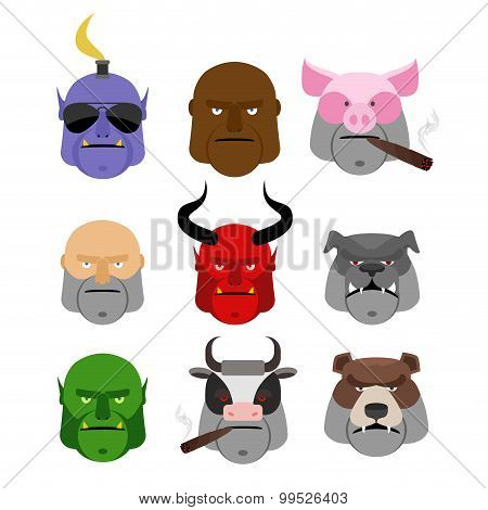 Set Serious Head. Evil Muzzles Of Animals And People. Terrible Head Dogs And Cows. Head Man And Demo