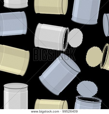 Cans Trash Vector Background. Seamless Pattern Tin