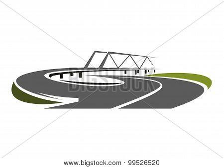 Road bridge above speed highway
