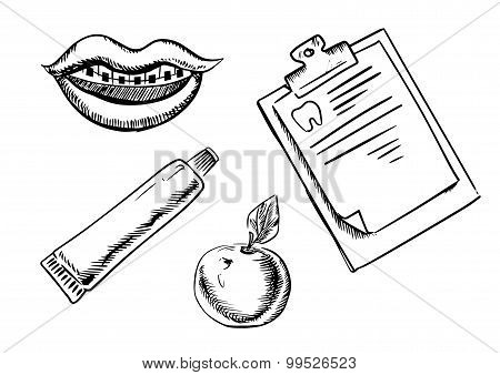 Dental and hygiene sketch icons