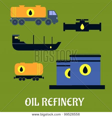 Oil storage and transportation icons