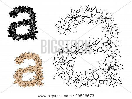 Isolated lowercase floral letter a