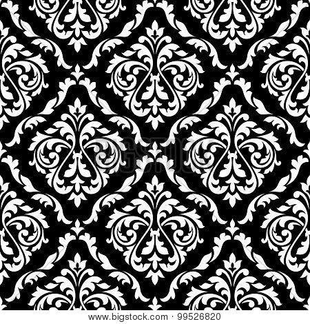Foliage damask seamless pattern with leaf scrolls
