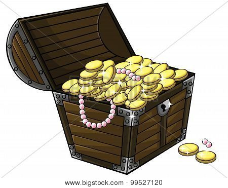 Cartoon Treasure Chest Crate With Gold Coins And Pearl Necklace Inside In White Isolated Background,