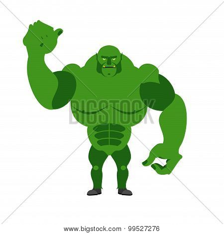 Angry Green Monster. Scary Goblin Big And Strong On A White Background.