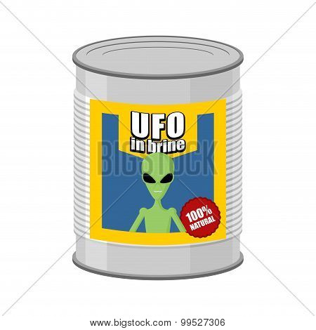 Canned Ufo. Tin Can Alien. Vector Illustration