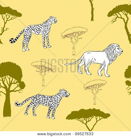 Seamless pattern with savanna animals-03