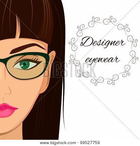 Attractive woman in spectacles. Optician, stylish glasses and le