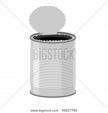Open A Tin Can. Tin On A White Background. Vector Illustration