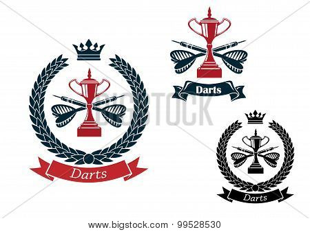 Darts emblems with arrows and trophies