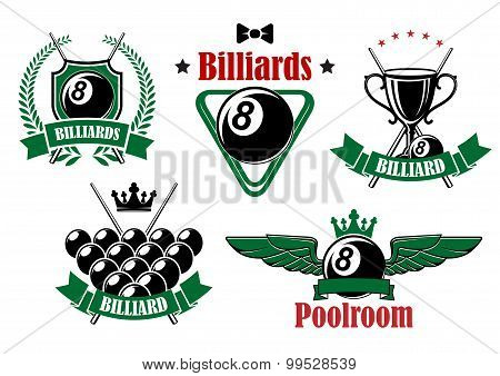 Billiards icons with game items