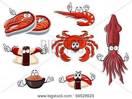 Cartoon seafood and animals characters