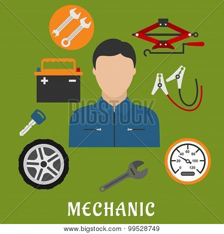 Mechanic man and car details