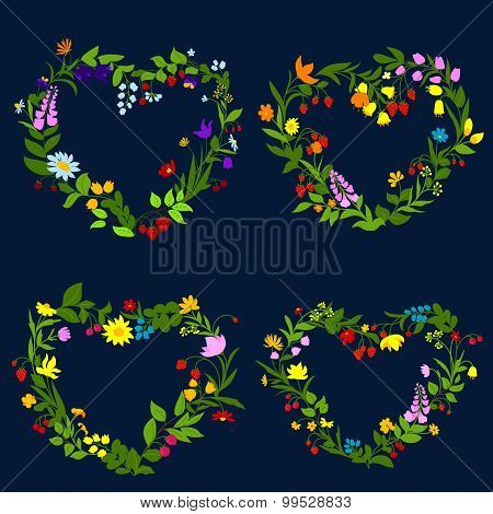 Floral hearts with flowers and herbs