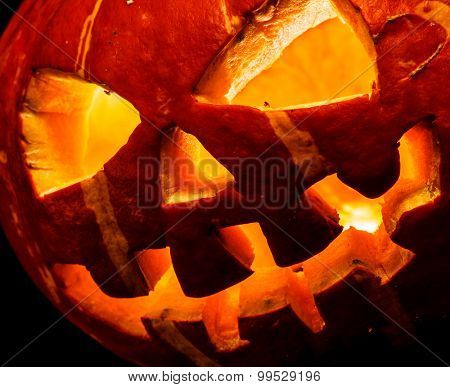 Halloween, old jack o lantern on black background