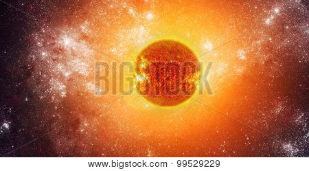Photo of the sun in space. Elements of this image furnished by NASA.