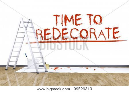 3d render of redecorate a room with a ladder