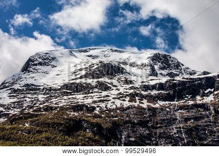 Snowy mountain. Beautiful Nature Norway.