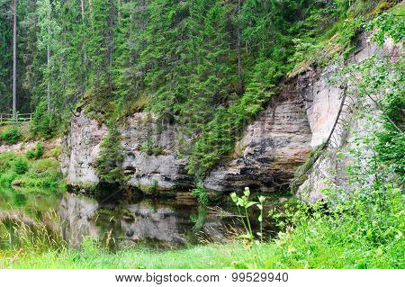 Outcrops Of Taevaskoda On The Ahja River, Estonia