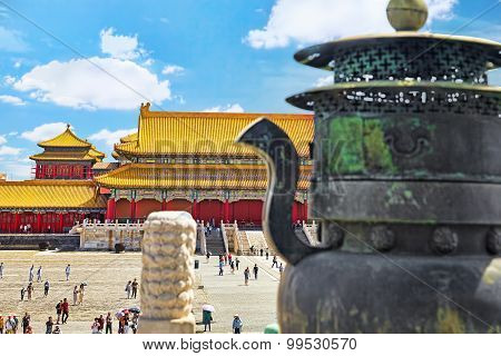 Beiging, China- May 18,  2015: Palaces, Tourisr's , Peoples Insde The Territory Of The Forbidden Cit