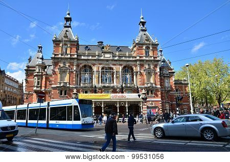 Amsterdam, Netherlands - May 6, 2015: People Around Stadsschouwburg Building At Leidseplein In Amste