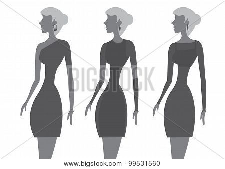 Little Black Dress Fashion Vector Illustration