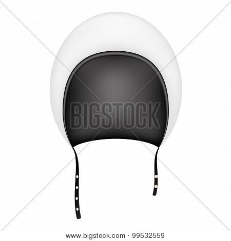Retro motorcycle helmet in black and white design