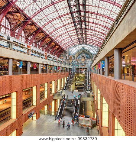 Interior of Antwerp central railway station, Belgium.