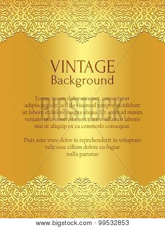 Exclusive golden background with damask floral pattern