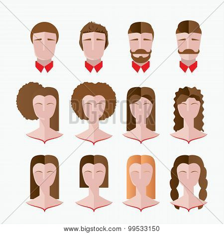 Set of Various hairdresser silhouettes, Permanent brazillian straightening, perming, hair coloring,