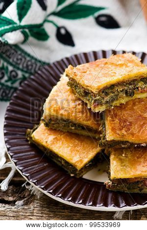 Hortopita. the Greek snack pie with a swiss chard and feta