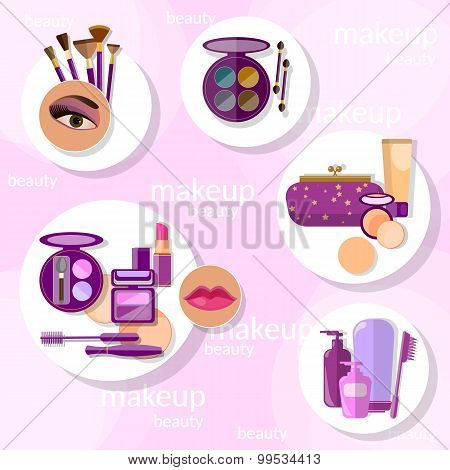 Flat Set Makeup Products Mascara Eyebrow Pencil Brushes Eyeshadow Lipstick Lip vector illustration