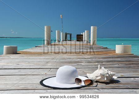 Hat and sunglasses. Great Exuma, Bahamas
