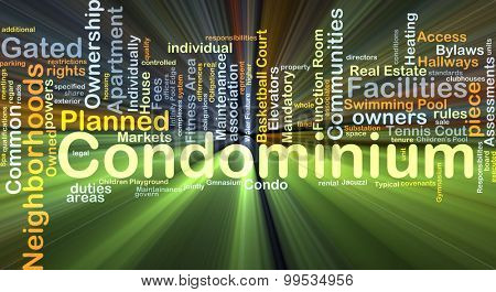 Background concept wordcloud illustration of condominium glowing light
