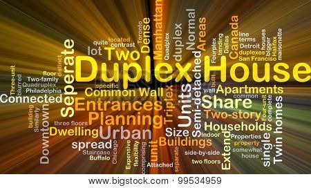Background concept wordcloud illustration of duplex house glowing light
