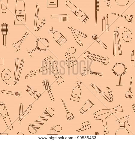 Care&Beauty seamless pattern. Barber shop icons.