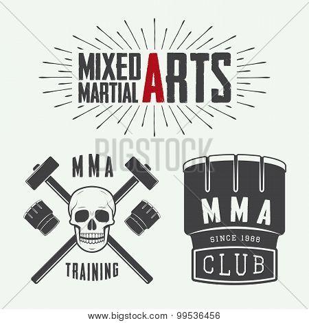 Set Of Vintage Mixed Martial Arts Logo, Badges And Emblems.