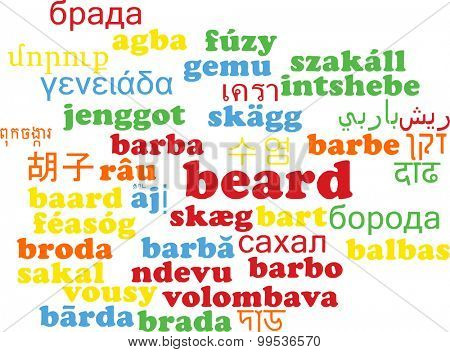 Background concept wordcloud multilanguage international many language illustration of beard
