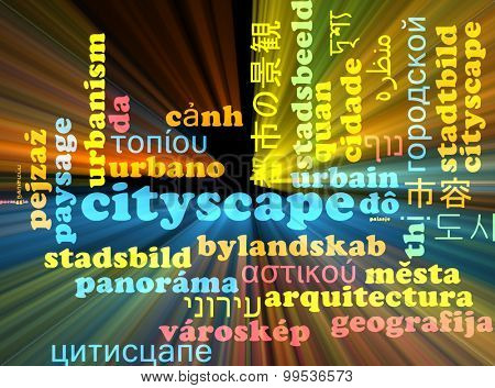 Background concept wordcloud multilanguage international many language illustration of cityscape glowing light