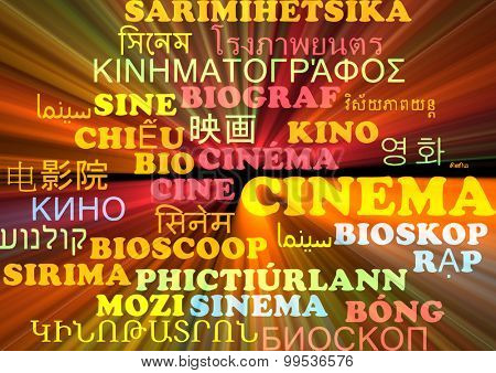 Background concept wordcloud multilanguage international many language illustration of cinema glowing light