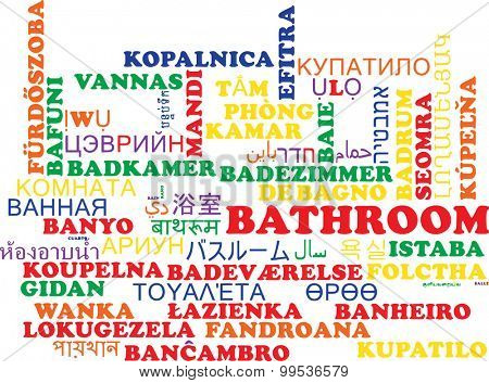 Background concept wordcloud multilanguage international many language illustration of bathroom