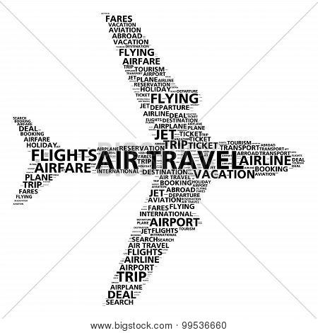 Air travel word cloud for airline booking and flight search