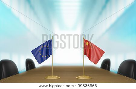 European Union and China relations and trade deal talks 3D rendering