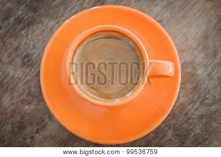 Hot Coffee On Wooden Table