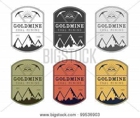 Coal mining logo badge in vintage style. Different colors.