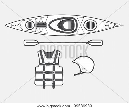 Flat Rafting Set Black And White