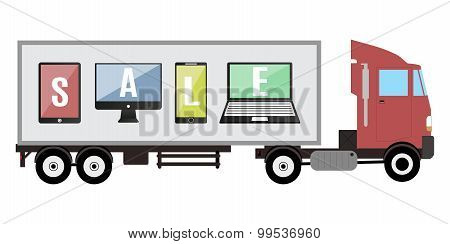 Trailer With Promo Tablet And Phone Sale Vector Illustration