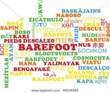 Background concept wordcloud multilanguage international many language illustration of barefoot